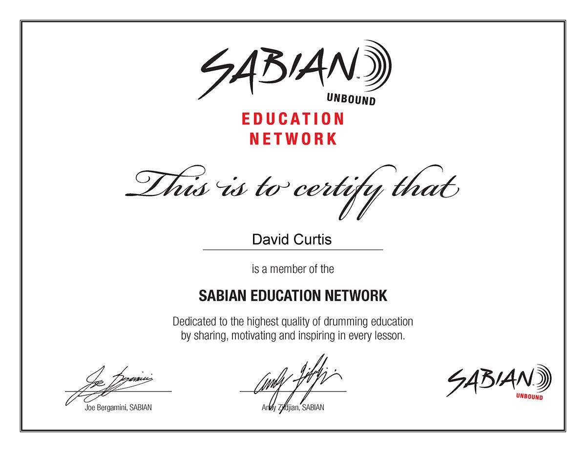 SABIAN SEN Certificate David Curtis